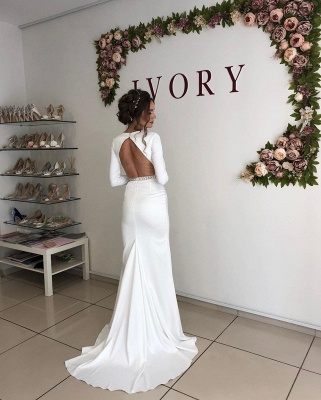 Graceful Deep V Neck Long Sleeve Open Back Crystal Fit And Flare Mermaid Wedding Dresses With Sash_2