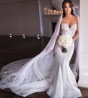 Gorgeous Sweetheart Crystal Sequin Mermaid Wedding Dresses | Fit And Flare Wedding gown_3