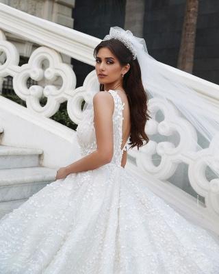 Deam Strpas V Neck Backless Floral Crystal A Line Wedding Dress_3