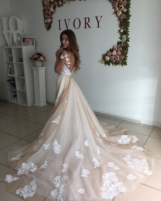 Champagne Sheer Neckline Backless Applique Detachable Skirt Sheath Wedding Dresses_2