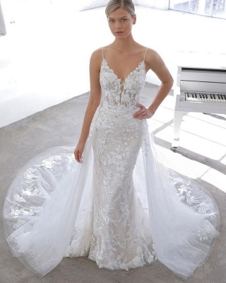 Sexy Spaghetti Strap V Neck Applique Lace Sheath Wedding Dresses With Detachable Skirt