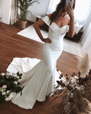 Off The Shoulder Sweetheart Fit And Flare Mermaid Wedding Dresses