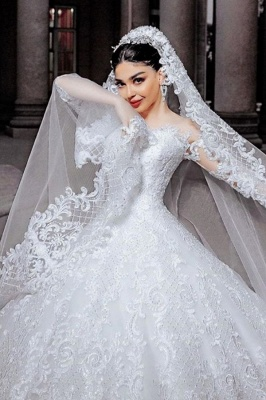 Jewel Long Sleeve Lace Sequin Puffy Ball Gown Wedding Dresses | Sequin Bridal Gown
