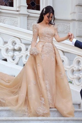 Champagne Jewel Long Sleeve Applique Sequin A Line Wedding Dresses | Detachable Skirt Bridal Gown