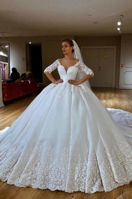 Gorgeous Sweetheart Off The Shouldr Three Quarters Sleeve Ball Gown Wedding Dress With Applique