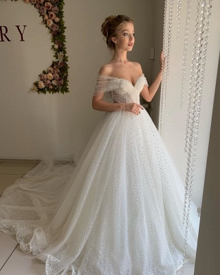 Simple Off The Shoulder Sweetheart Applique Tulle A Line Wedding Dresses_4