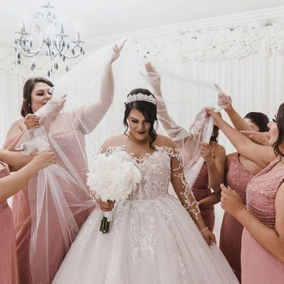 Plus Size Jewel Long Sleeve Applique Ball Gown Wedding Dresses | Pearls Bridal Gown_3