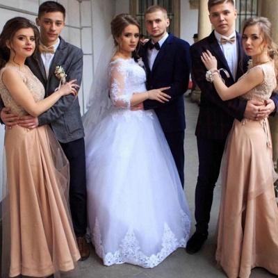 Elegant Bateau Long Sleeve Applique A Line Wedding Dresses_2