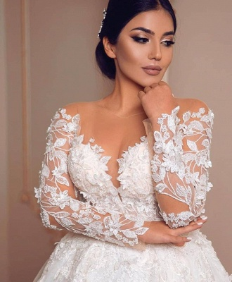 Royal Jewel Long Sleeve Floral Ball Gown Wedding Dresses | Beaded Puffy Wedding Gown_4