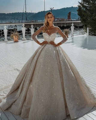 Stunning Long Sleeve Jewel Crystal Beaded Ball Gown Wedding Dresses_2