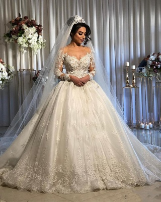 Princess Long Sleeve Lace Applique Ball Gown Wedding Dress | Puffy Bridal Gown_2