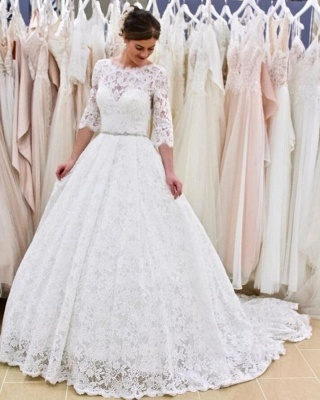 Modern Long A-line Lace Floor length Wedding Dress with Sleeves_3