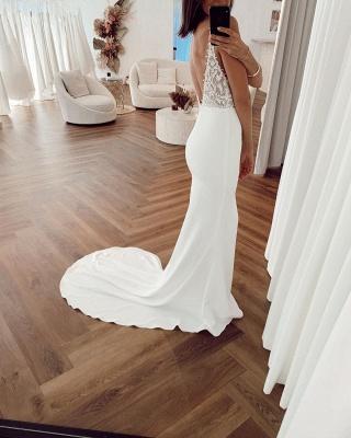 Simple Spaghetti Strap Backless Applique Sheath Wedding Dresses_2