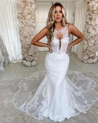 Simple Straps Jewel Applique Fit And Flare Mermaid  Wedding Dresses_2
