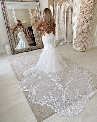 Simple Straps Jewel Applique Fit And Flare Mermaid  Wedding Dresses_3