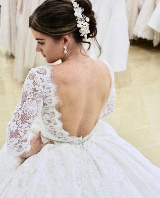 Modern Long A-line Lace Floor length Wedding Dress with Sleeves_2