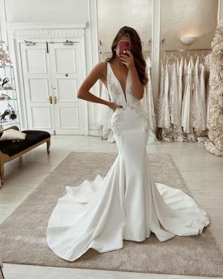 Long Mermaid V-neck Backless Wedding Dress Straps Appliques_2