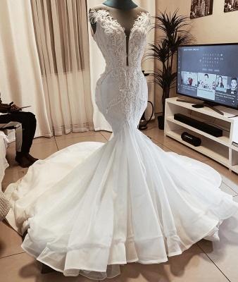 Jewel Sleeveless Applique Fit And Flare Mermaid Wedding Dresses_2
