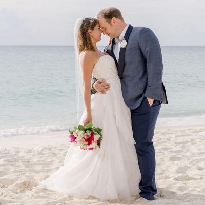 Sexy Sweetheart Backless Applique A Line Summber Beach Wedding Dresses_2