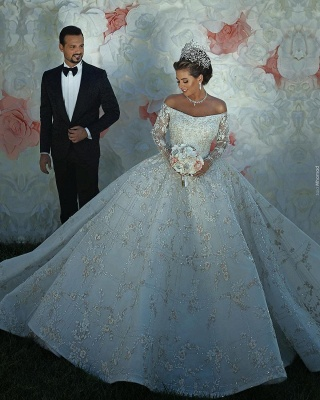 Gorgeous Off The Shoulder Long Sleeve Sequin Applique Ball Gown Wedding Dress | Crystal Puffy Wedding Gown_5