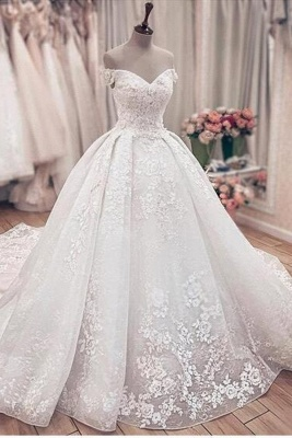 Princess Off The Shoulder Sweetheart  Applique Puffy Ball Gown Wedding Dresses_1