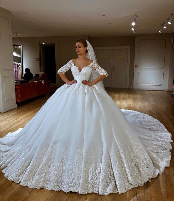 Gorgeous Sweetheart Off The Shouldr Three Quarters Sleeve Ball Gown Wedding Dress With Applique_1