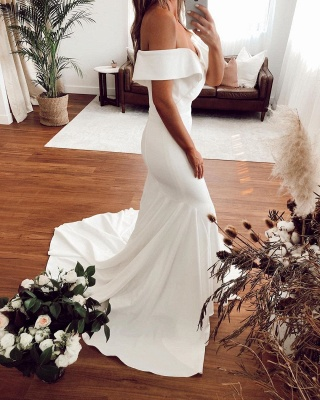 Off The Shoulder Sweetheart Fit And Flare Mermaid Wedding Dresses_2