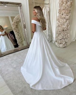 Elegant Off The Shoulder Sweetheart A Line Wedding Dresses_3