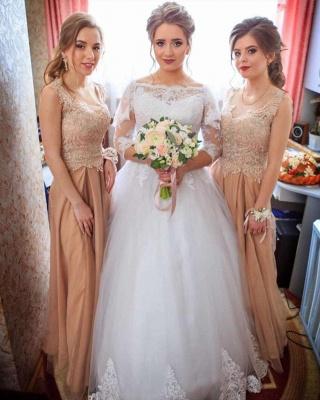 Elegant Bateau Long Sleeve Applique A Line Wedding Dresses_3