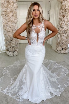 Simple Straps Jewel Applique Fit And Flare Mermaid  Wedding Dresses