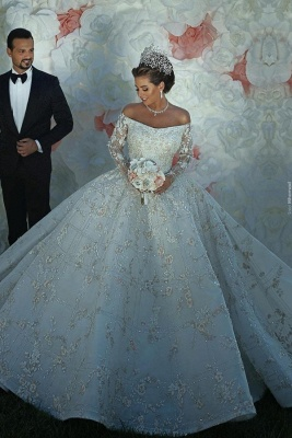 Gorgeous Off The Shoulder Long Sleeve Sequin Applique Ball Gown Wedding Dress | Crystal Puffy Wedding Gown