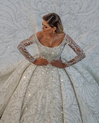 Gorgeous Long Sleeve Off The Shoulder Crystal Applique Pleated Ball Gown Wedding Dresses_3