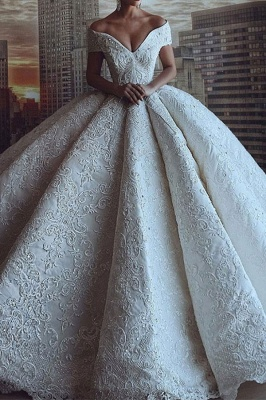 Gorgeous Off The Shoulder Sweetheart Crystal Sequin Puffy Ball Gown Wedding Dresses