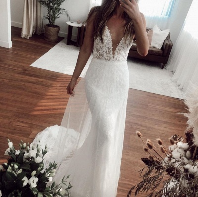 Casual Straps V Neck Lace Column Wedding Dresses | Detachable Skirt Wedding Gown_3