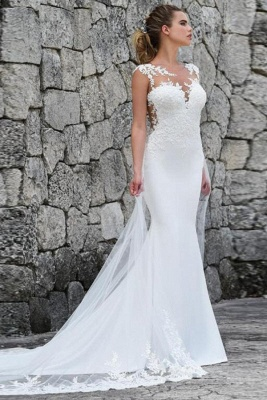 Elegant Straps Jewel Applique Crystal Fit And Flare Mermaid Wedding Dresses With Detachable Train