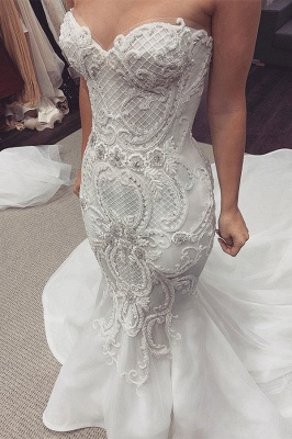 Luxury Sweetheart Backless Applique Fitted Mermaid Wedding Dresses