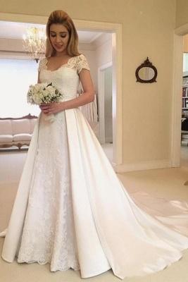Elegant Long A-line V-neck Satin Wedding Dress with Lace