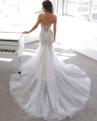 Elegant Sweetheart Backless Lace Tulle Fitted Mermaid Wedding Dresses_2