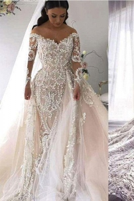 Long Sleeve Applique Detachable Skirt Mermaid Wedding Dresses | V Neck Wedding Gown