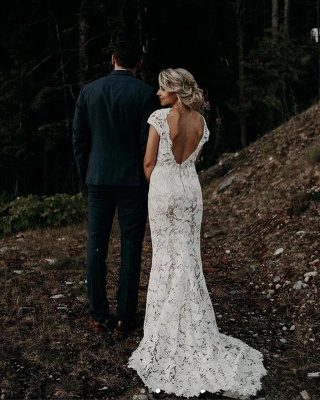 Backless Lace Mermaid Wedding Dresses | Cap Sleeve V Neck Bridal Gown