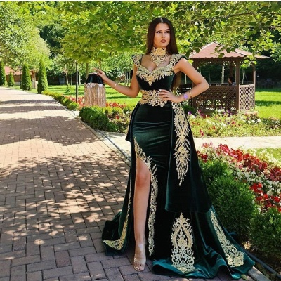 Mermaid Dark Green Velvet Formal Prom Dresses with Gold Lace appliques_3