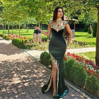 Mermaid Dark Green Velvet Formal Prom Dresses with Gold Lace appliques_2