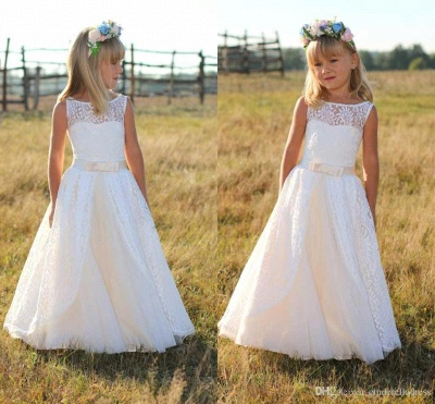 Jewel Cute Lace White Cheap Flower Girl Dresses with Sash_4