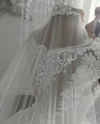 Elegant Sleeveless Beaded Ball Gown Wedding Dresses  with Handmade Flowers_5