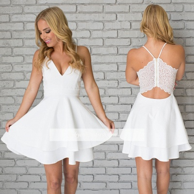 Lace Mini Spaghetti-Strap Cute Sleeveless White Homecoming Dress_1