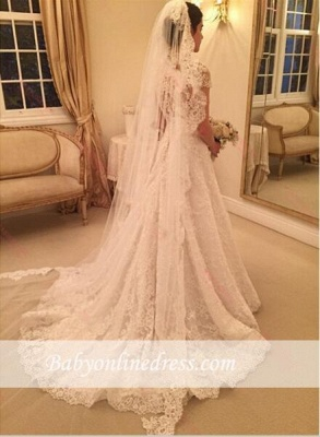 New Arrival Short Sleeve Wedding Dress Sweep-Train Lace Zipper A-line Bridal Gowns_1