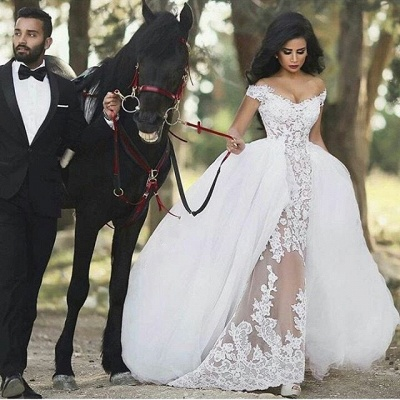 Lace Off-the-Shoulder Gorgeous Overskirt Sheer Detachable Wedding Dresses_3