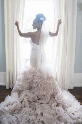 Sweetheart Sleeveless Ruffles Court-Train Open Back Organza Sheath Wave-Design Wedding Dress_3