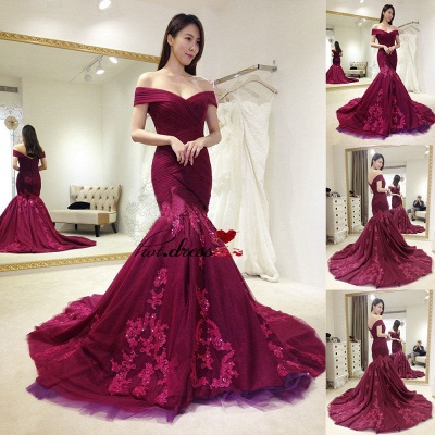 Tulle Off-shoulder Appliques Sequins Ruffles Sweep-train Mermaid Evening Dresses_3