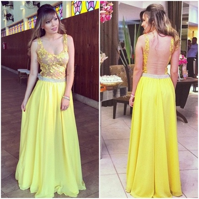 Lace A-line Hollow Yellow Floor-length Elegant Chiffon Straps Prom Dress_2